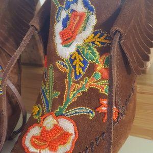Tory Burch Shoes - NWT TORY BURCH BROWN HEELED BEADED MOCASSINS